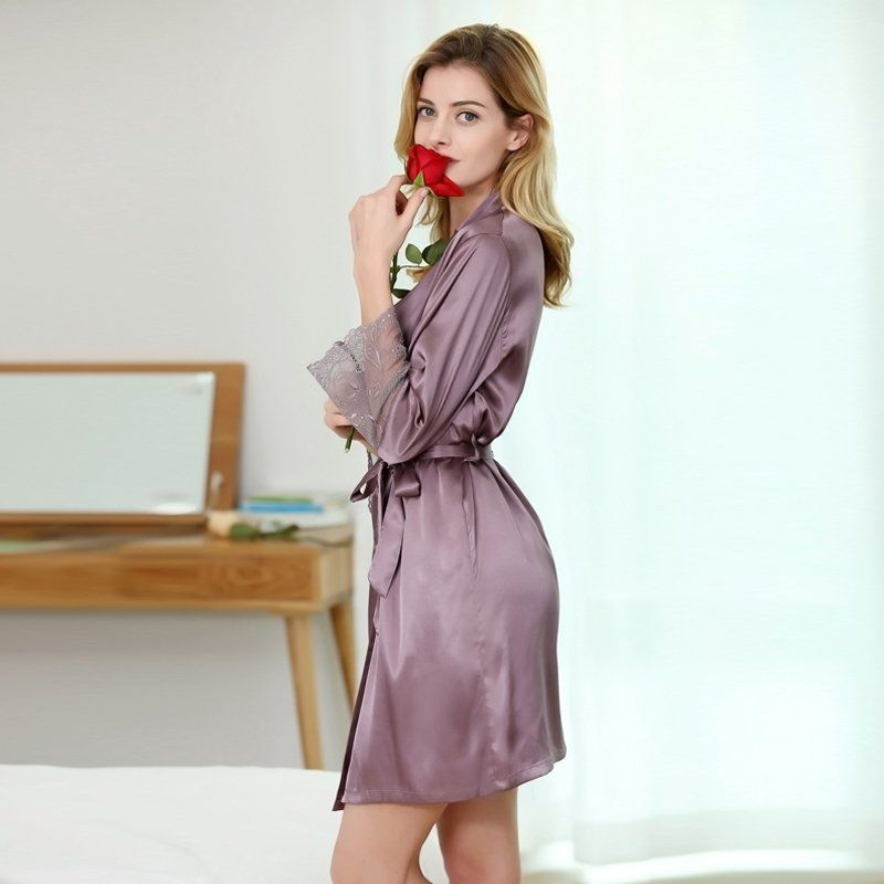 915a8fea4e17f Robe de chambre violette pour femme 95% polyester 5% Spandex aspect satin  200 g/m2 #rose #pink #flower #mode #bathrobe #lingerie #sexy #mode #shop  #shopping