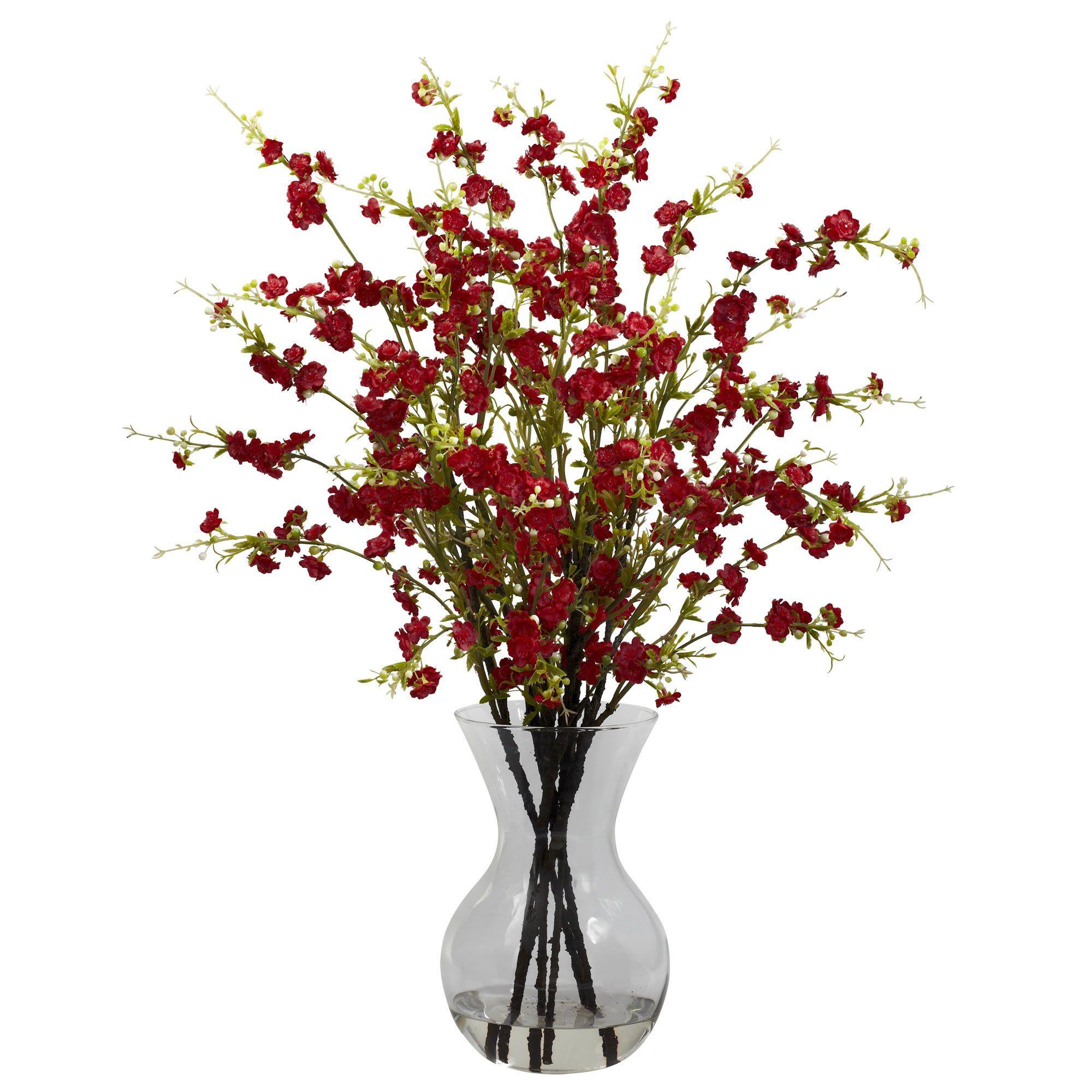 Artificial Cherry Blossoms W Vase Arrangement Cherry Blossom Vase Vase Arrangements Silk Flower Arrangements