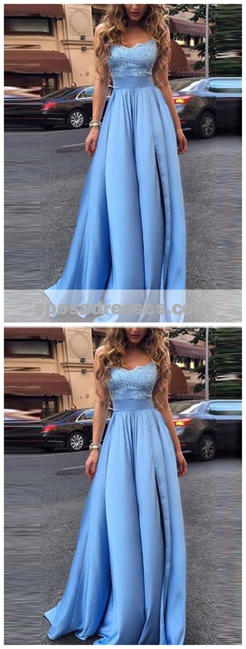 Simple lace bodice sweetheart aline long evening prom dresses