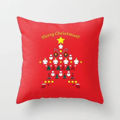 FLAT CHRISTMAS series -CHRISTMAS STAR_R Throw Pillow by SEOL.D - $20.00