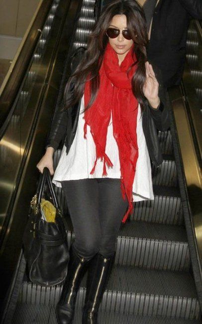 cute & comfy for the airport black leggings f's tall black boots bright cranberry red scarf and flowing white blouse