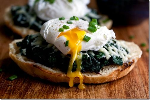 Beet Greens Bruschetta with Poached Egg & Fontina