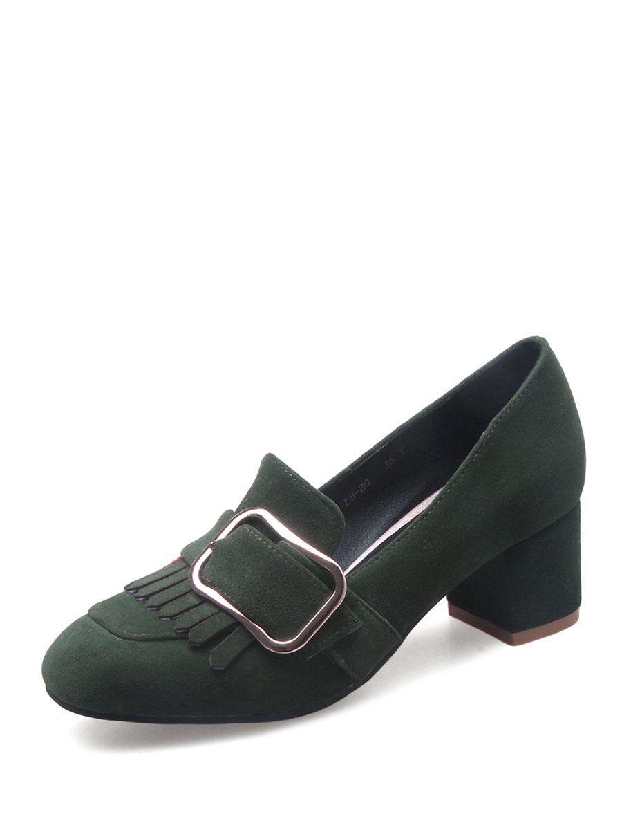 Heels for dark green dress  AdoreWe StyleWe Loafers  Designer naiyee Dark Green Tassel Chunky