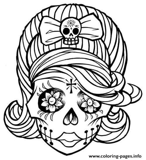 Print Sugar Skull Girl Coloring Pages Ausmalbilder Malvorlagen Fur Madchen Sugar Skull Madchen