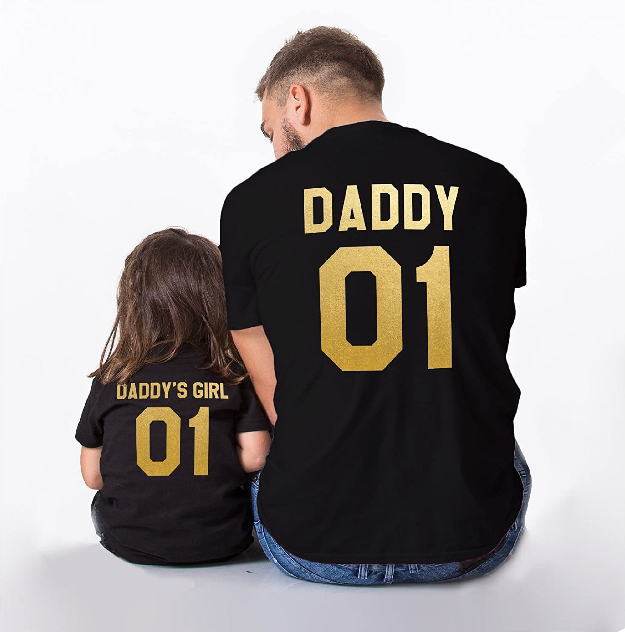 ♡ The perfect Tshirt for the Daddy and his Girls! ♥ Free UK Shipping ♥ 100% Cotton ♥ Quirky, fun Tshirt ♥ Please add each item to your cart separately if you would like the adult and kids tops. ♥ Gold Text ♥ Short Sleeves