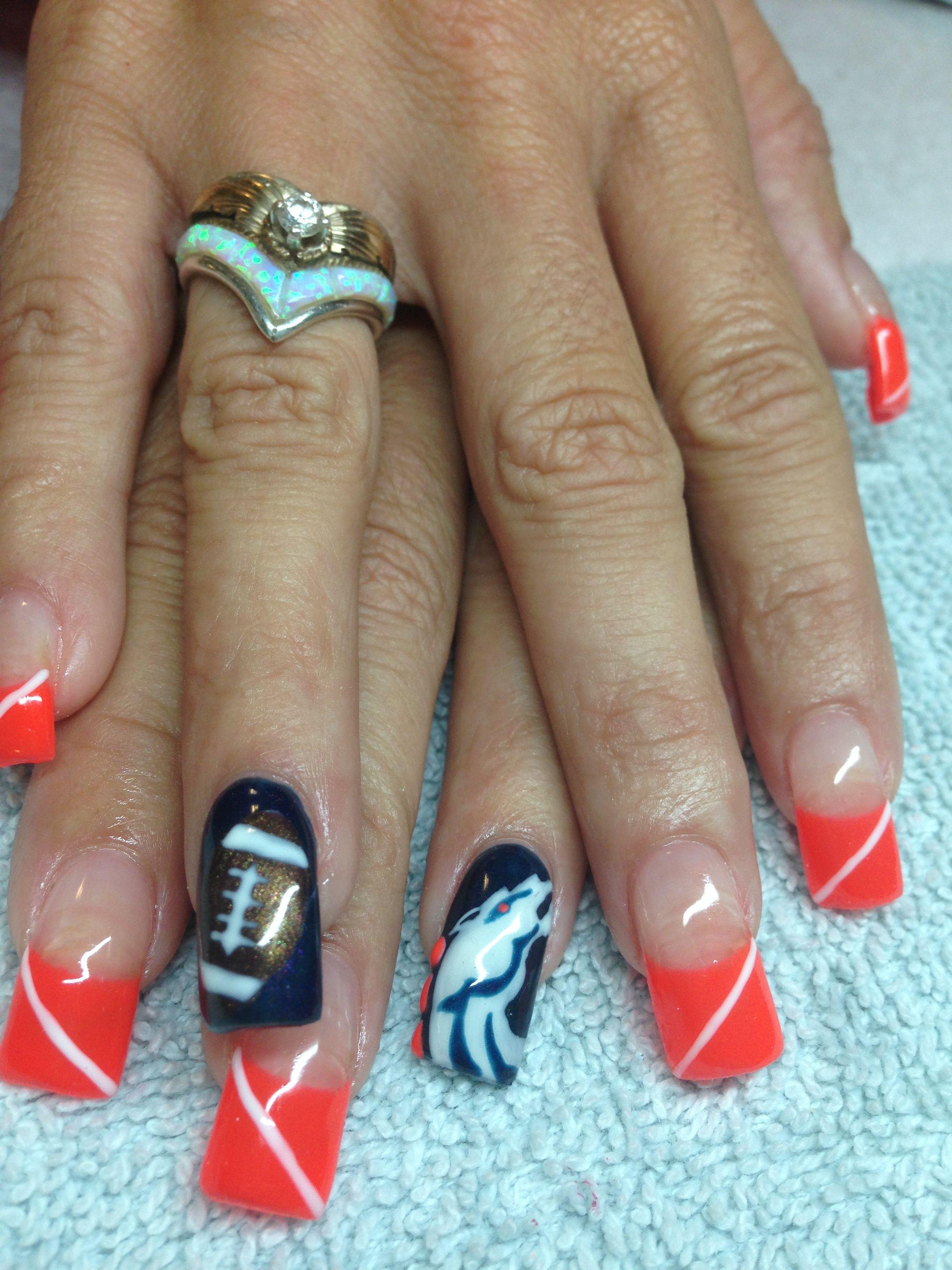 Denver broncos nails @Ashaya Jamson-Carter   Beauty needs ...