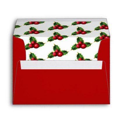 Card Envelope-Christmas Holly Envelope Wedding and Weddings