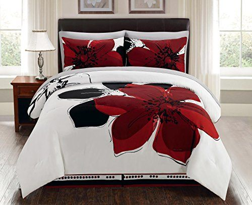 8 Pieces Burgundy Red Black White Grey floral Comforter B...  ... : red and grey quilt - Adamdwight.com