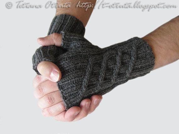 Hand Knit Gloves For Men Winter Fingerless Mitts Gift For Him Boy