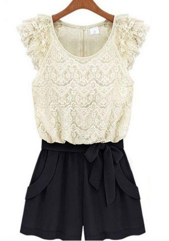 White Black Color Block Drawstring Waist Short Lace Jumpsuit
