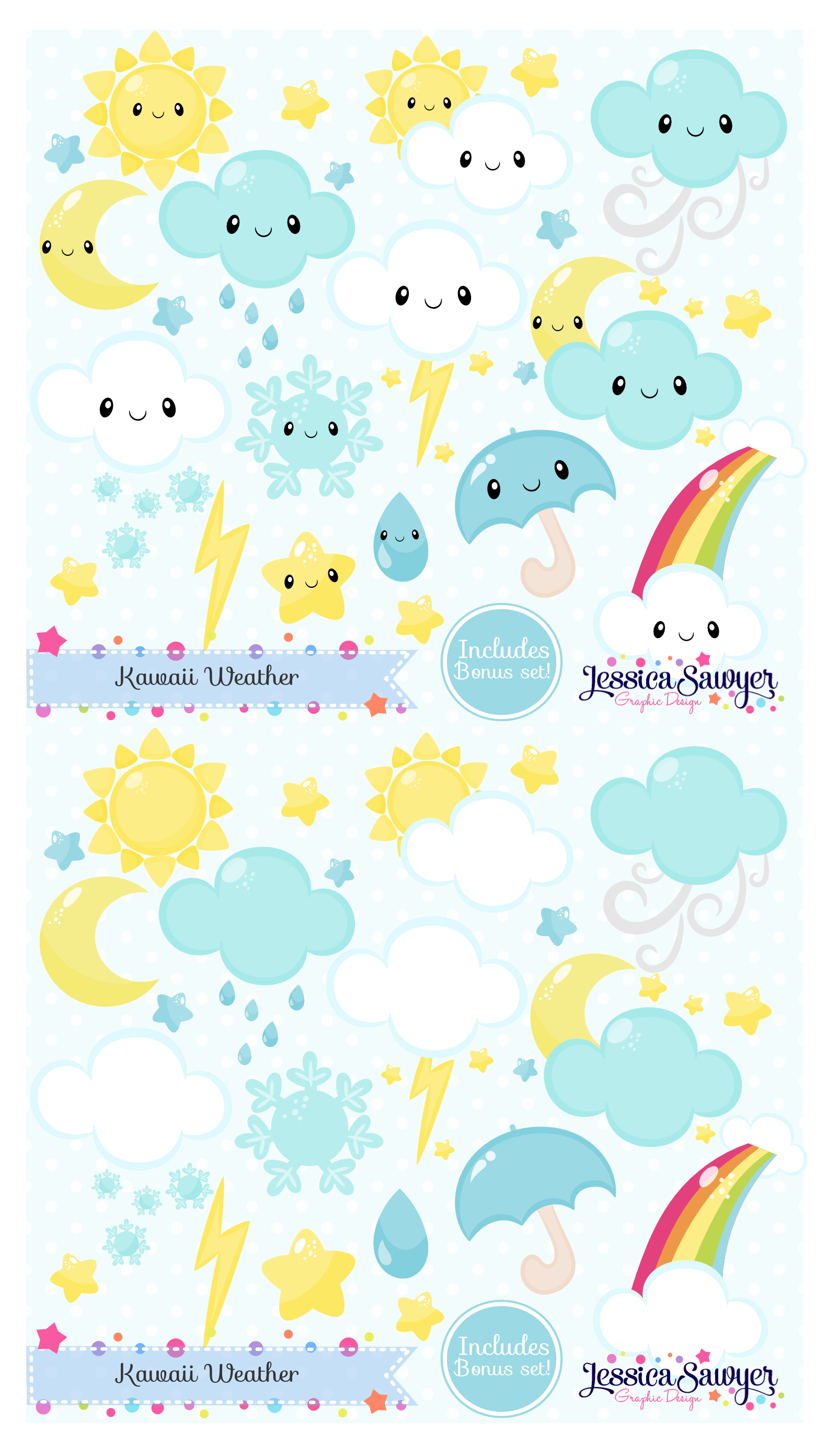 Kawaii Weather Clipart and vectors for planner stickers, products ...