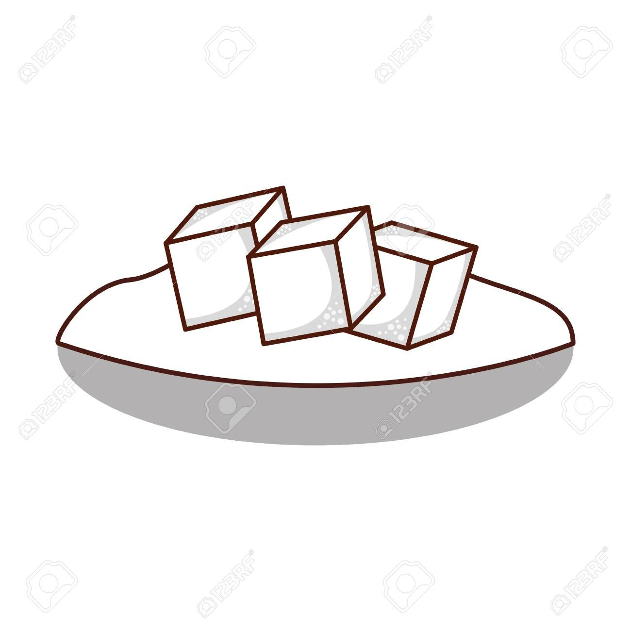 dish with sugar cubes vector illustration design Illustration