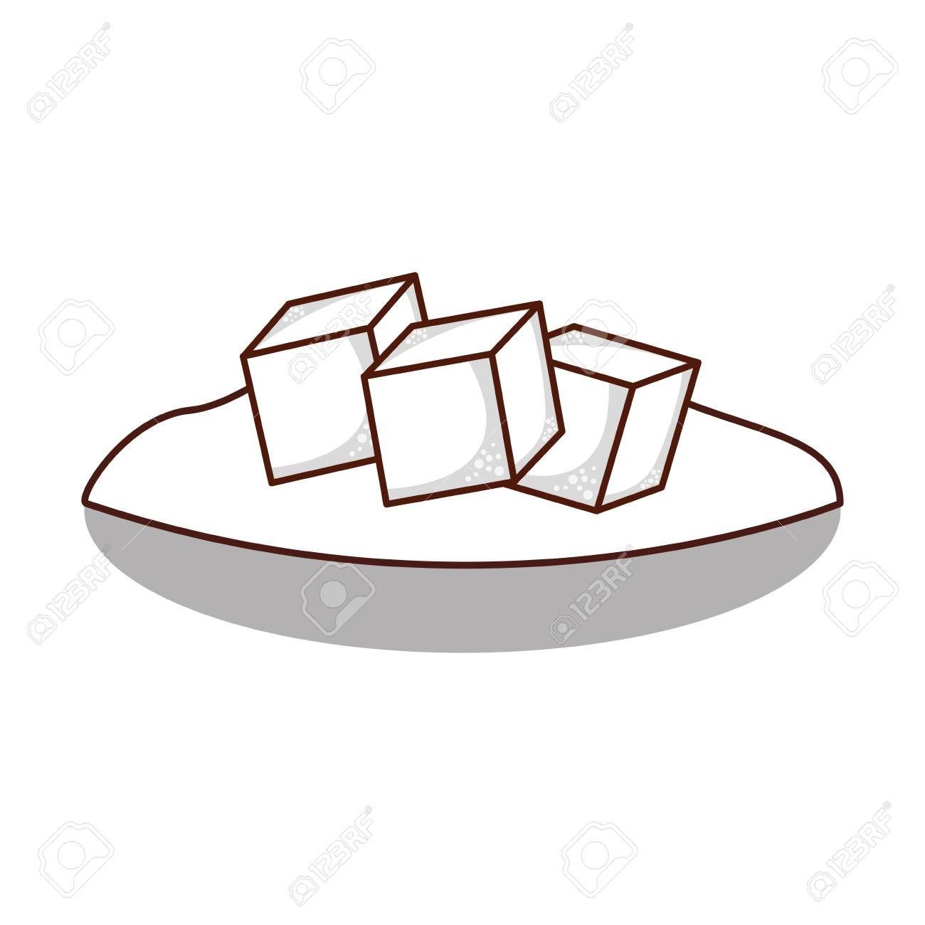 dish with sugar cubes vector illustration design Illustration