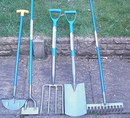 Set Of 5 Gardening Tools Shovel Fork Rake Hoe Edging Spade