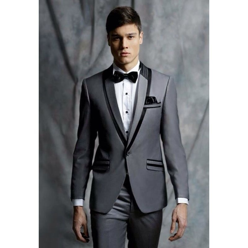 Grey Formal Skinny wedding suits for men Prom Tuxedo terno smoking ...