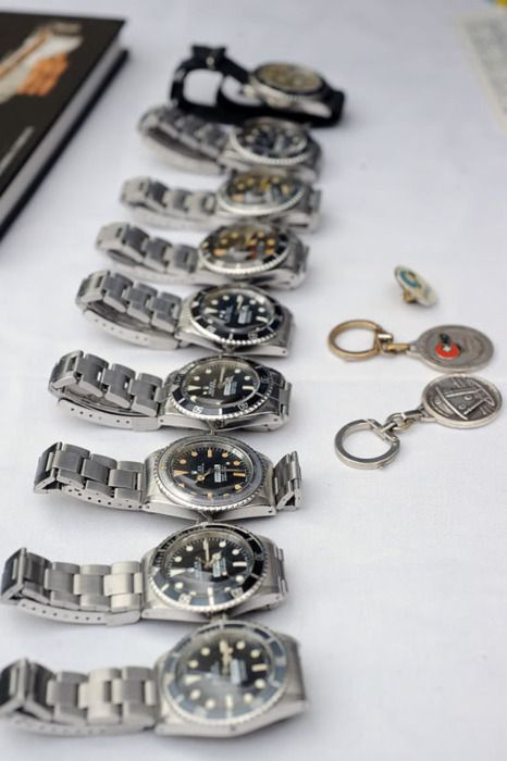 A boatload of crazy expensive, rare, vintage Rolex Submariners, very cool stuff.