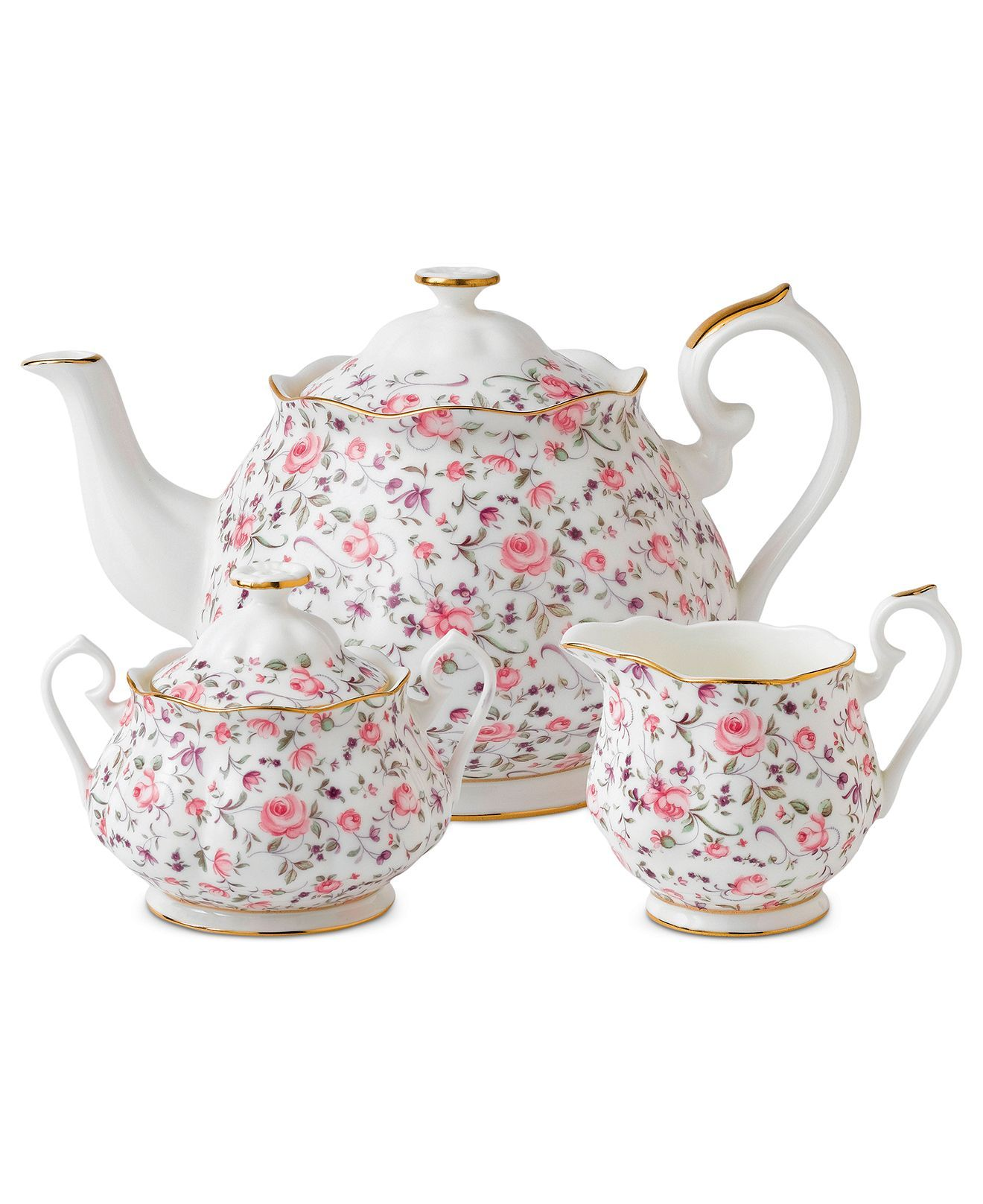 Royal Albert Rose Confetti 3-Piece Tea Set & Reviews - Fine China - Macy's #teasets