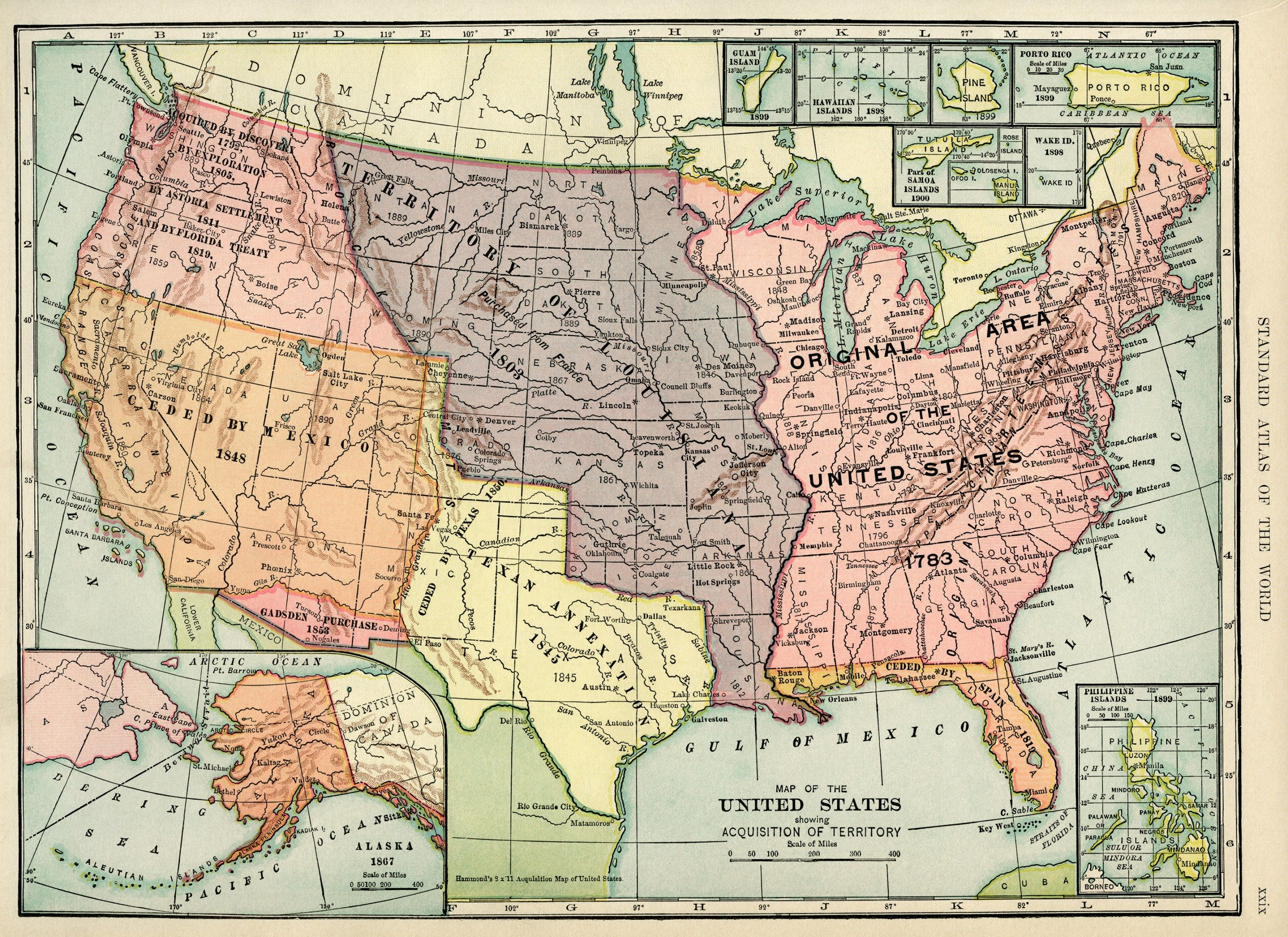 United States map, vintage map download, antique map ...