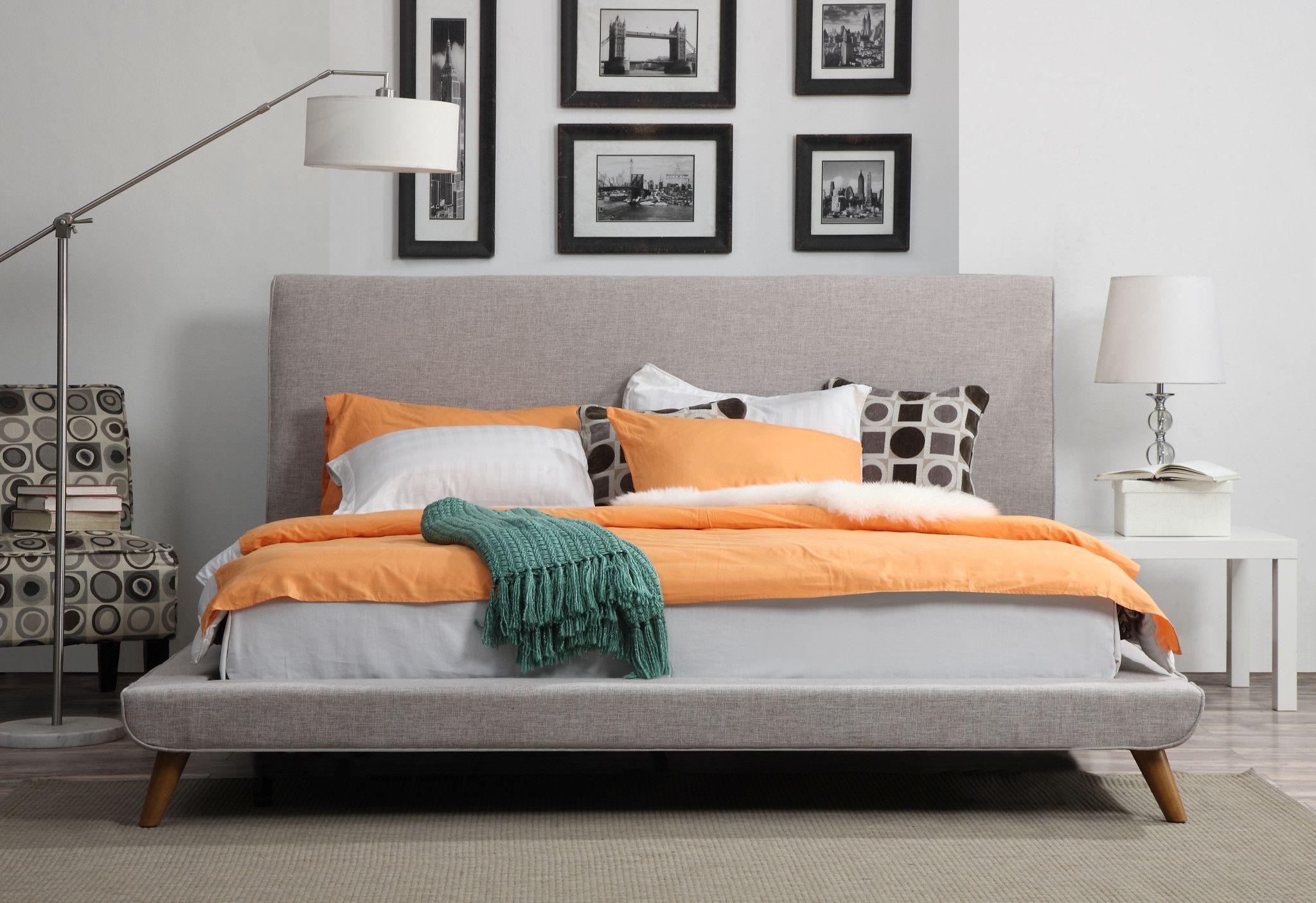 Johnson Mid Century Queen Linen Bed Upholstered Panel Bed Best
