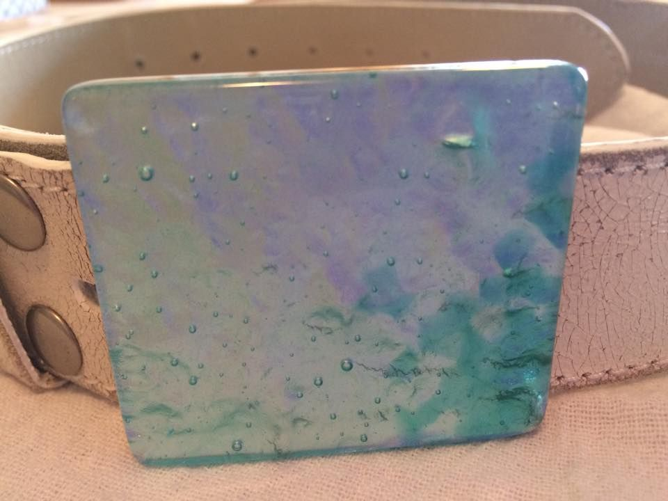 Handmade, fused glass belt buckle by Miss Olivia's Line. #MOL Additional items posted at https://www.facebook.com/MissOliviasLine
