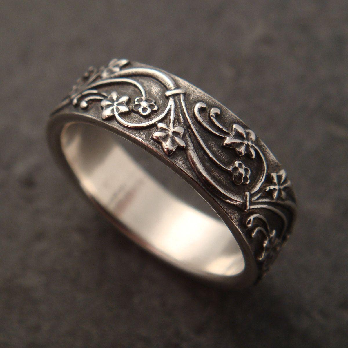 Silver Wedding Band Set Wedding Rings Silver Wedding Ring Mens Etsy Wedding Band Sets Silver Wedding Bands Mens Wedding Rings