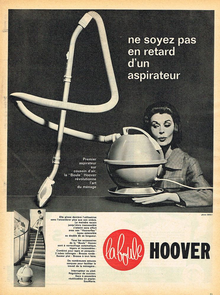 publicite advertising 124 1960 hoover aspirateur boule in collections objets publicitaires. Black Bedroom Furniture Sets. Home Design Ideas