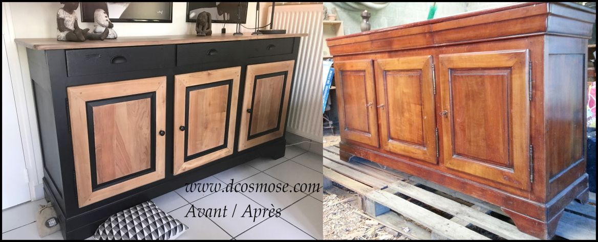 buffet bahut merisier louis philippe trois portes trois tirois relook bois et noir poign es. Black Bedroom Furniture Sets. Home Design Ideas