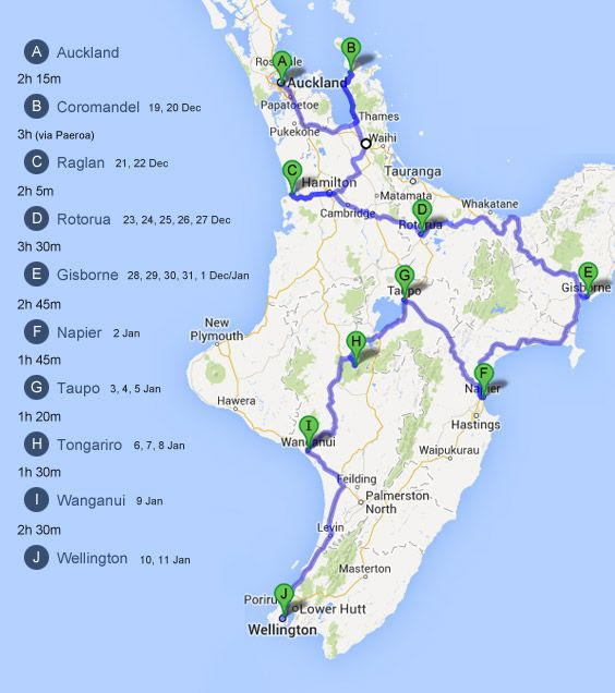 New Zealand Map North Island Detailed.North Island Driving Route Oz Nz New Zealand North Map Of New