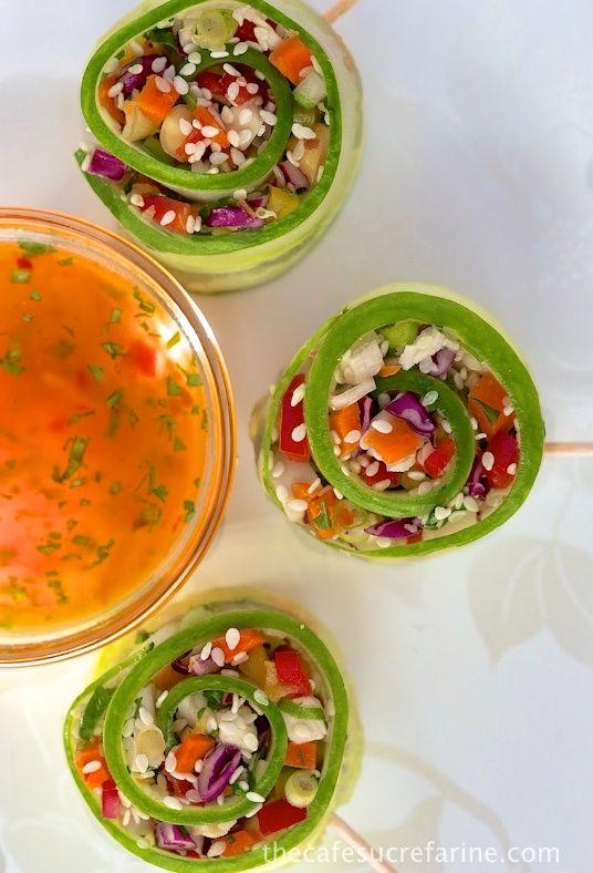 Rouleaux de salade de poulet asiatique hachés