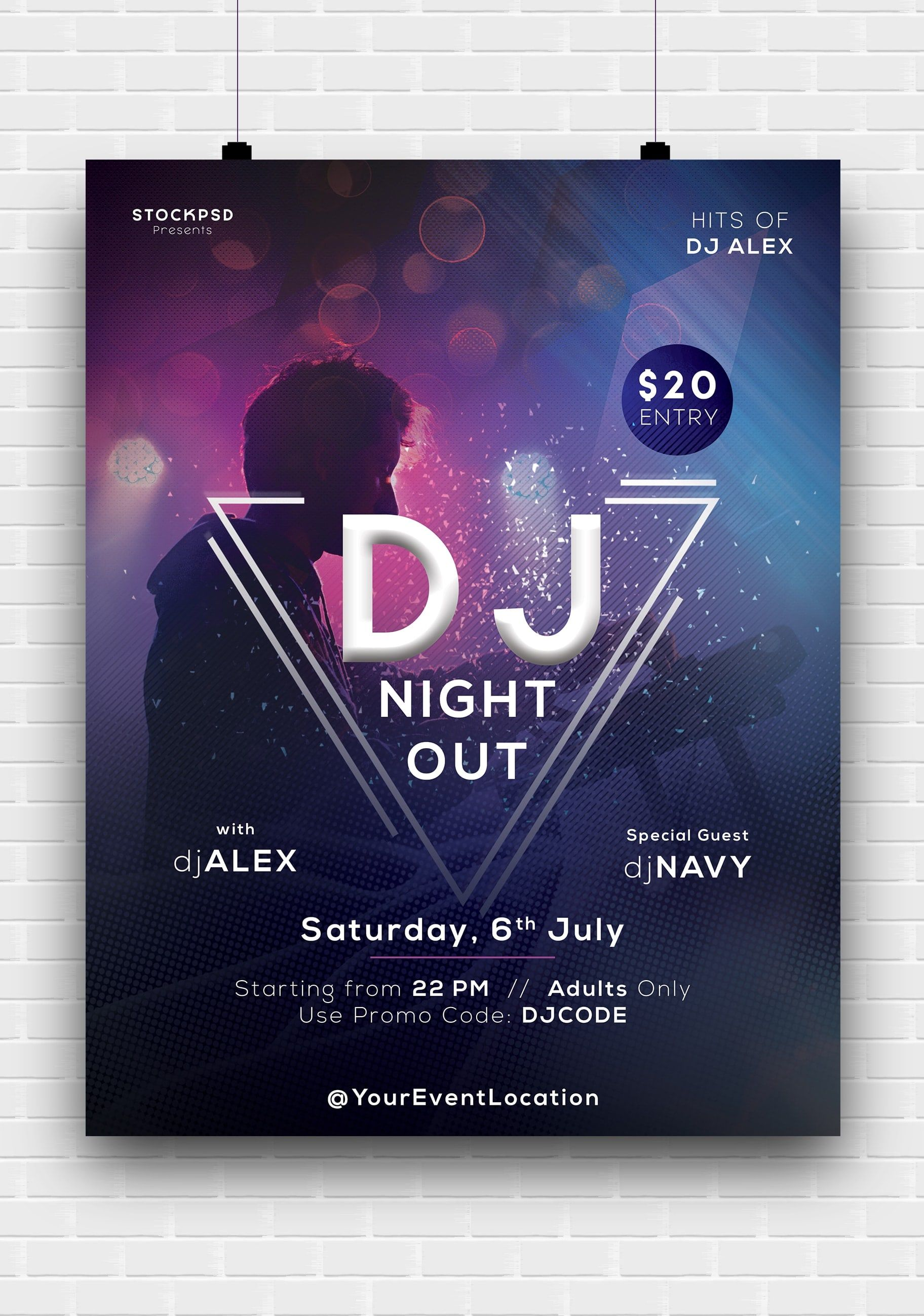 Dj Night Out Free Psd Poster Template Psd Poster Template Free Psd Poster Poster Template