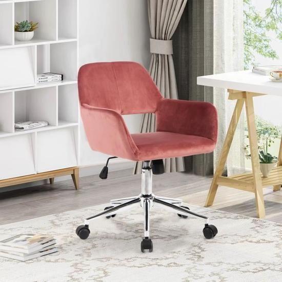 Chaise De Bureau Fauteuil De Bureau Hauteur Reglable En Velour Rose En 2020 Fauteuil Bureau Chaise Bureau Chaise De Bureau Confortable