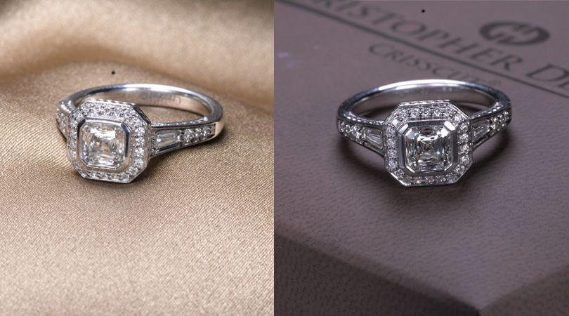 Crisscut Asscher ring inspired by Gatsby.