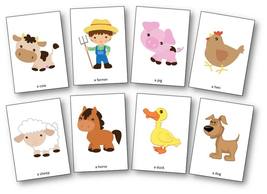 Flashcards Des Personnages De La Chanson Old Macdonald Had A Farm Farm Activities Preschool Farm Animals Preschool Farm Theme Preschool