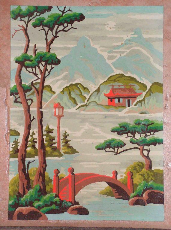 Vintage Pbn Paint By Number Asian Landscape Art Painting