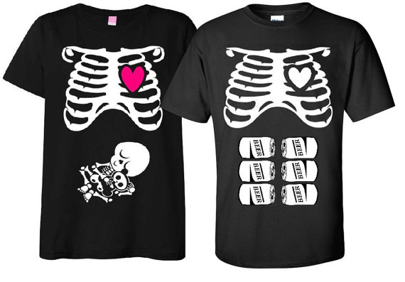 308b4fe705960 Maternity Halloween T-Shirt Costume Rib Cage and Baby Skeleton and Matching  Father To Be Six Pack Beer T-Shirt Couple Set Baby Shower Gift