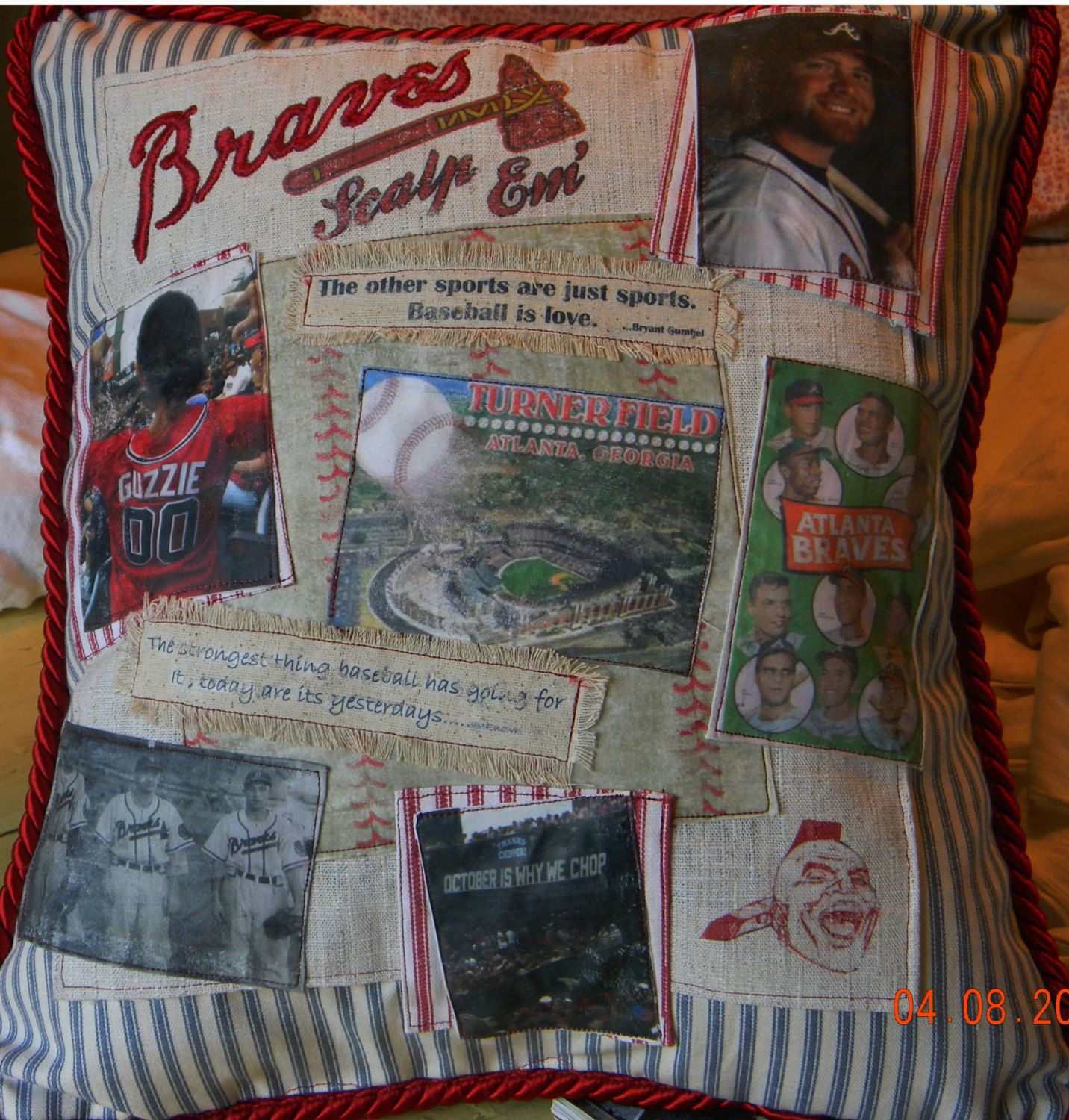 Handmade Custom Atlanta Braves Baseball Photo By Dawnsgardengate 50 00 Baseball Quilt Atlanta Braves Braves Baseball