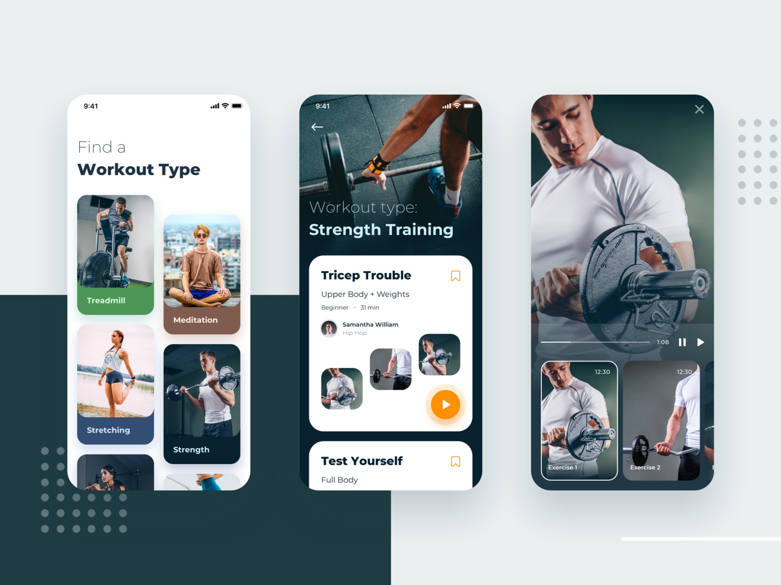 Personal Training App Exploration Web app design