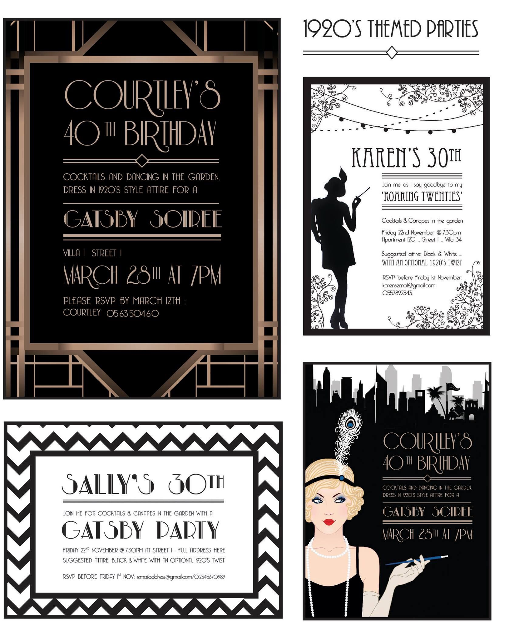 Gatsby style 1920s party invites designed by prettyinprint.me ...
