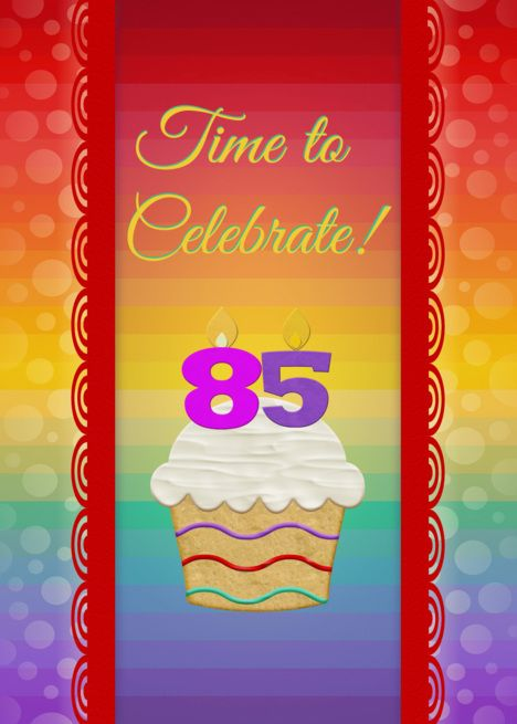 Cupcake with Number Candles Time to Celebrate 85 Years Old Party card