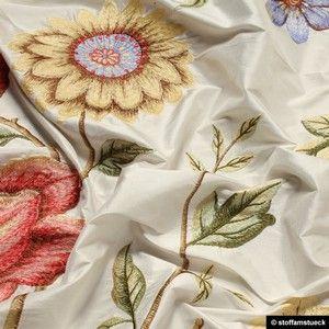 Seide Baumwolle Leinwand Weiss Stickerei Blume Stickerei Blu