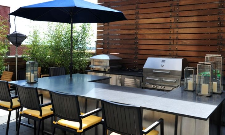 This Great Space On A Rooftop In Manhattan Is Used By The Family All Year Long Outdoor Kitchen Design Outdoor Kitchen Patio Outdoor Patio Designs