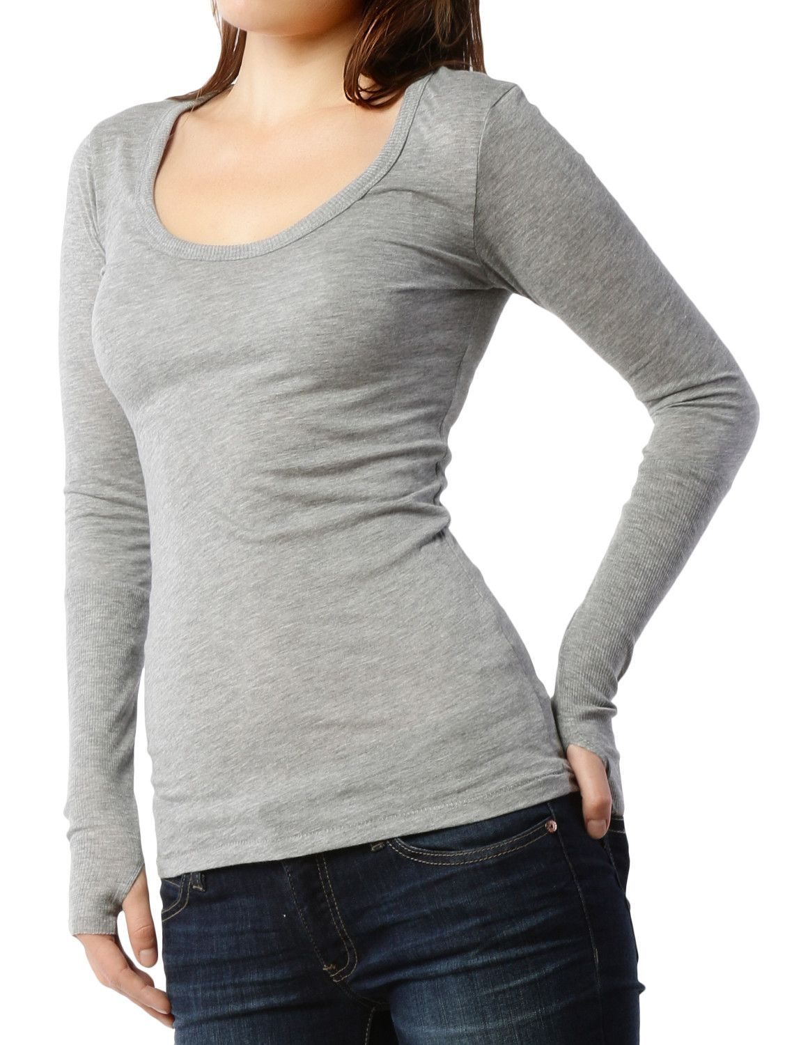 LE3NO PREMIUM Womens Lightweight Scoop Neck Thermal Shirt with Thumb Hole