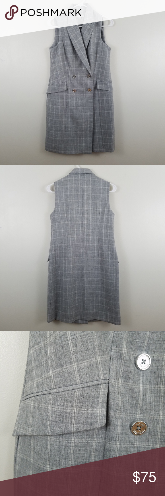 66d3e3994307e Calvin Klein Plaid Double Breasted Blazer Dress 87% polyester, 8% rayon, 5%  spandex 100% polyester lining 35