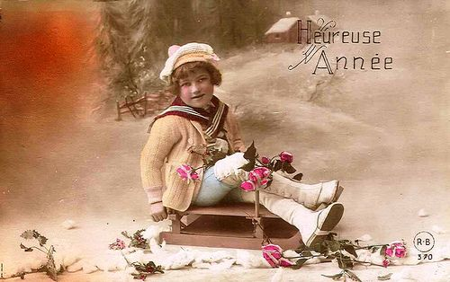 Vintage Postcard ~ Little Girl on Sled | Flickr - Photo Sharing!