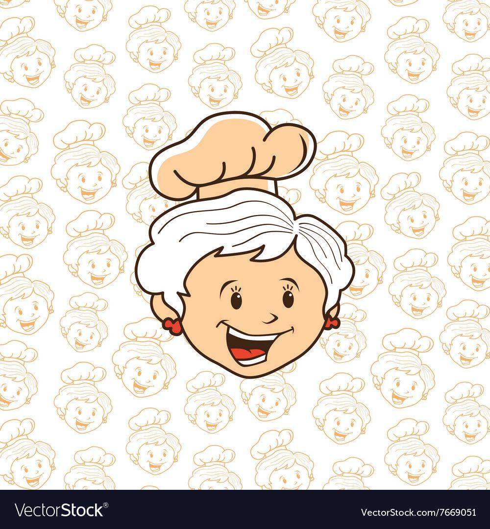 Grandma chef cartoon vector image on Skema warna, Warna