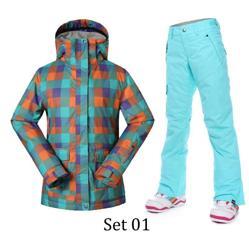 Gsou Snow Winter Ski Suits Women Thermal Super Warmth Snowboard Jacket and  Pants Cotton Waterproof Windproof 092514010