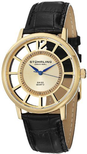 Stuhrling Original Men S 388s 333531 Classic Winchester Swiss Quartz Gold Tone Watch Set On I Dbuyit At Mens Watches Leather Watches For Men Amazing Watches