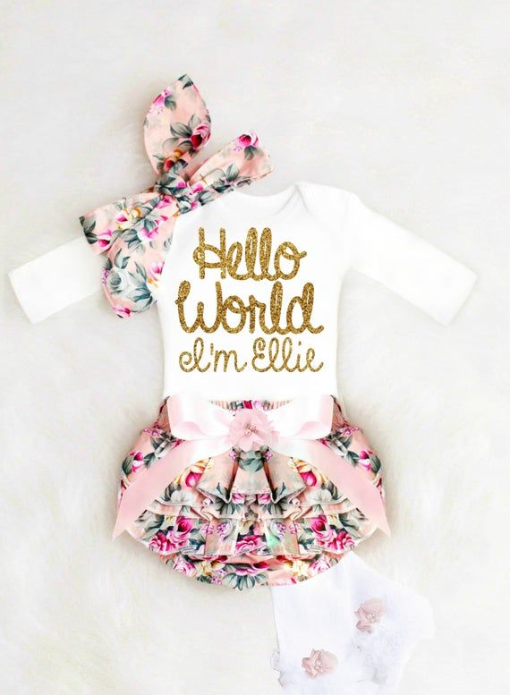 Photo of Newborn Baby Girl Coming Home Outfit Winter Cute Baby Girl Clothes, Baby Shower Gift HELLO WORLD Boho Baby Girl Outfit Personalized Baby