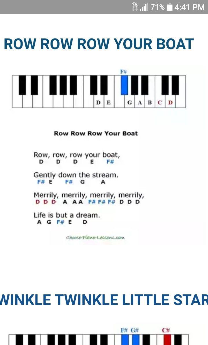 Row Row Row Your Boat Nursery Rhymes Piano Sheet Music Piano Music Piano Notes Songs Learn Piano