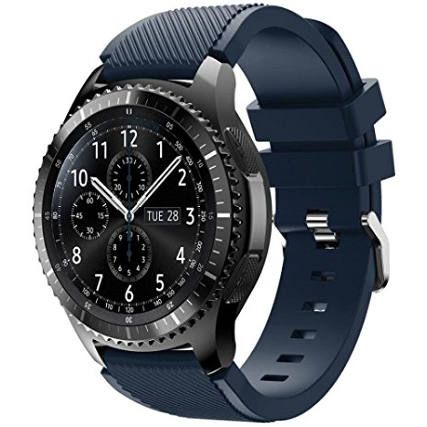 Tloowy Silicone Sport Style Soft Replacement Watch Band Wristband Samsung Gear S3 Frontier Double Side Strap Only Bracelet For Frontierdark Blue Learn More By Visiting The